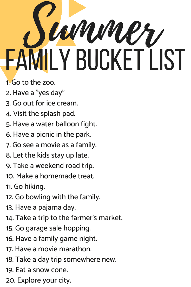 A list of 20 bucket list activities for the summer