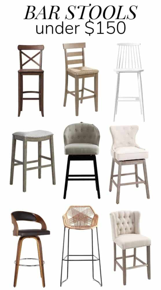 Collage of bar stools under $150