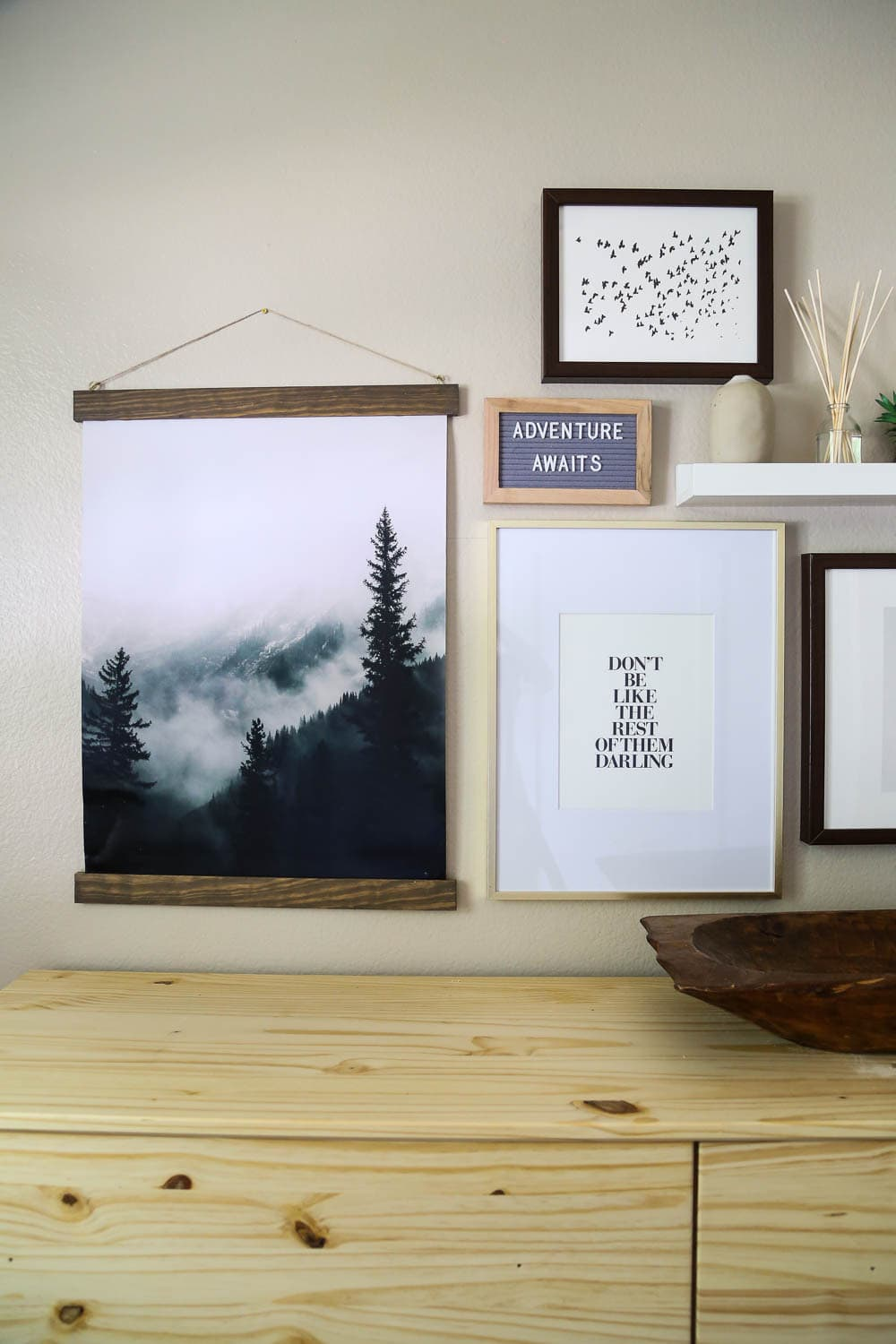 DIY poster frame tutorial and nursery gallery wall