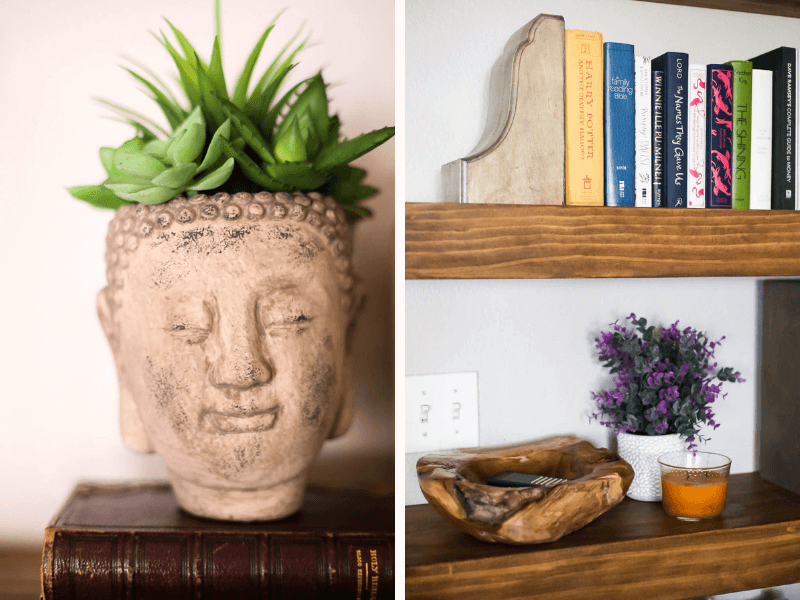 collage of faux cement head planter and shelves styled with accessories