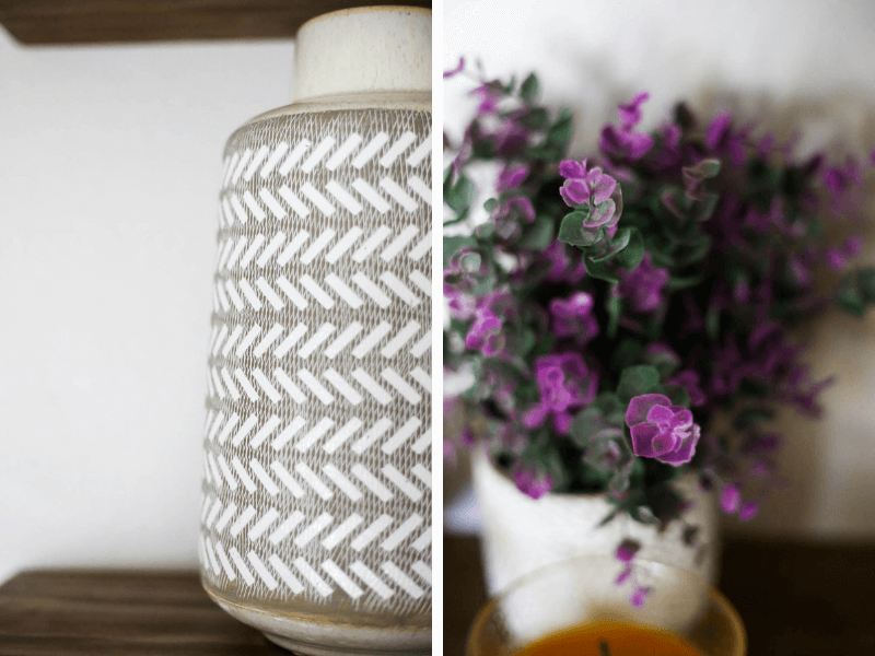 collage of white and cream vase and purple faux plant