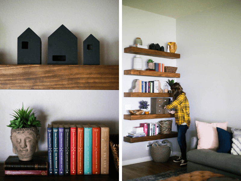 collage of close up of shelves and woman placing something on floating shelves