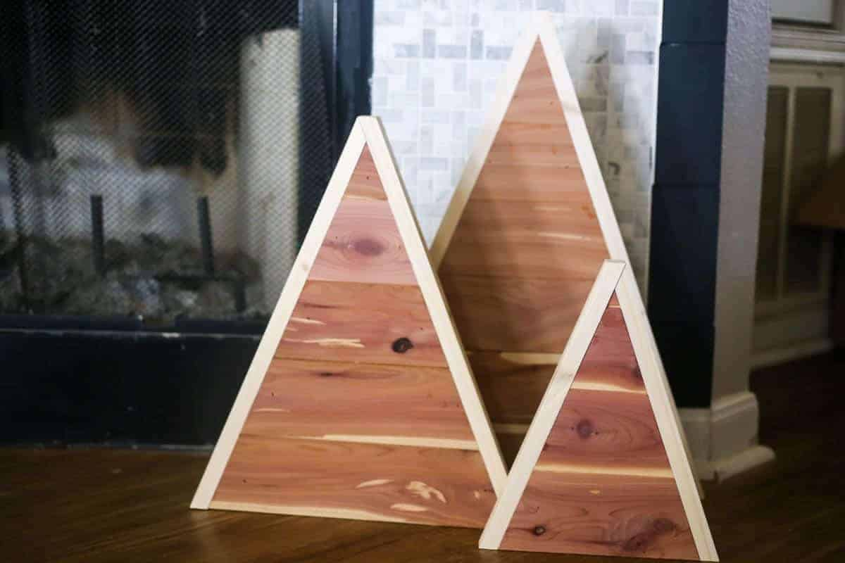 trio of modern wooden Christmas trees