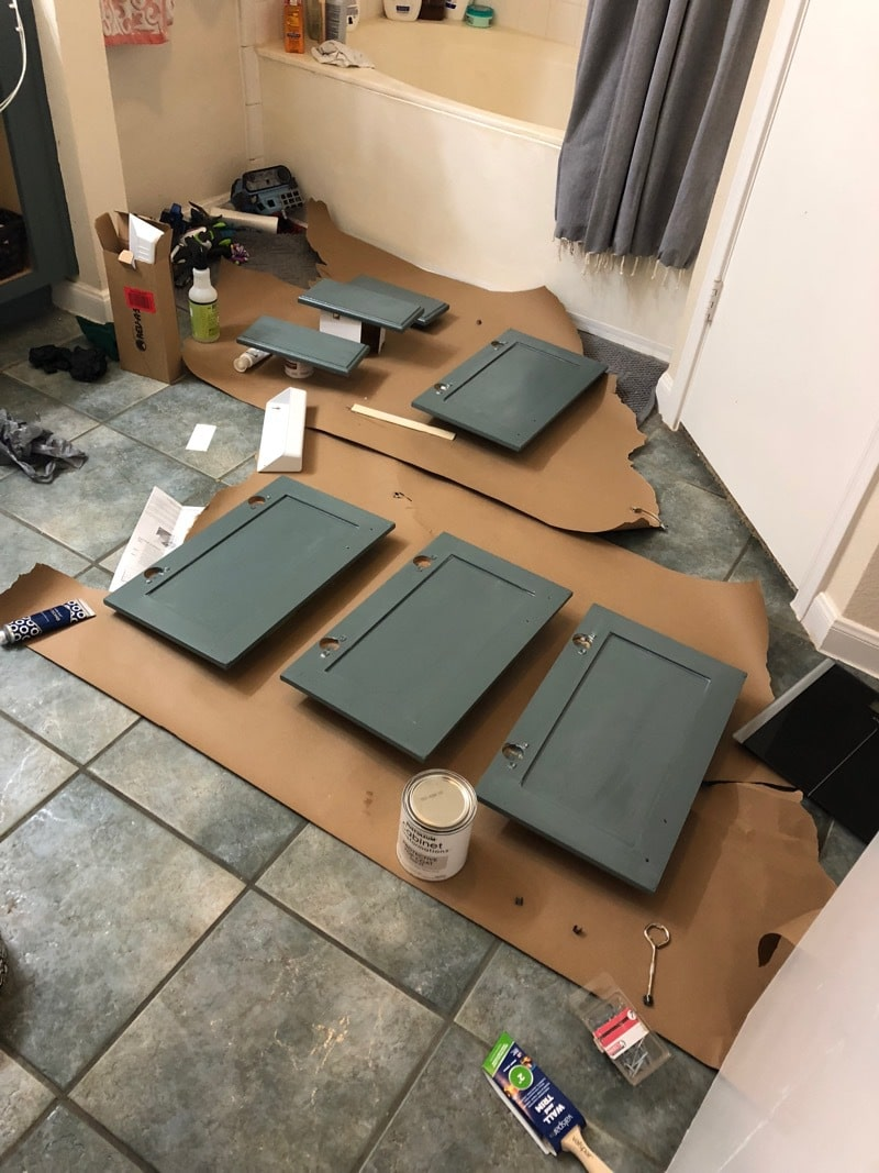 cabinet doors and drawers painted in bathroom