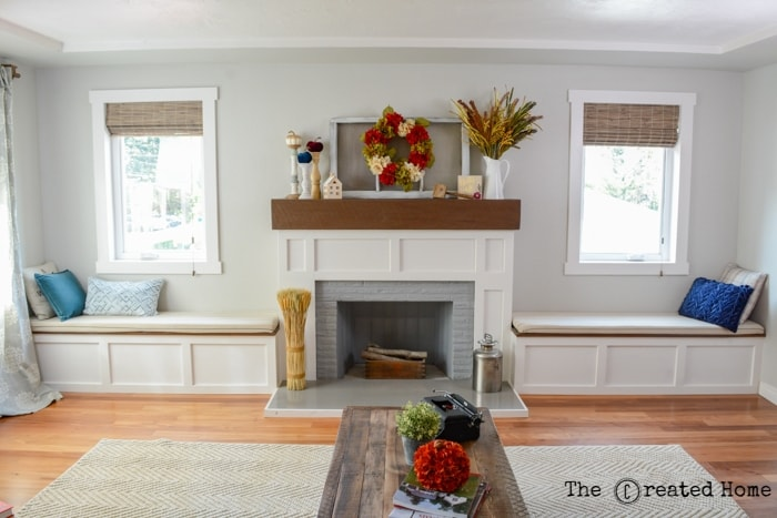 fireplace with built-in benches