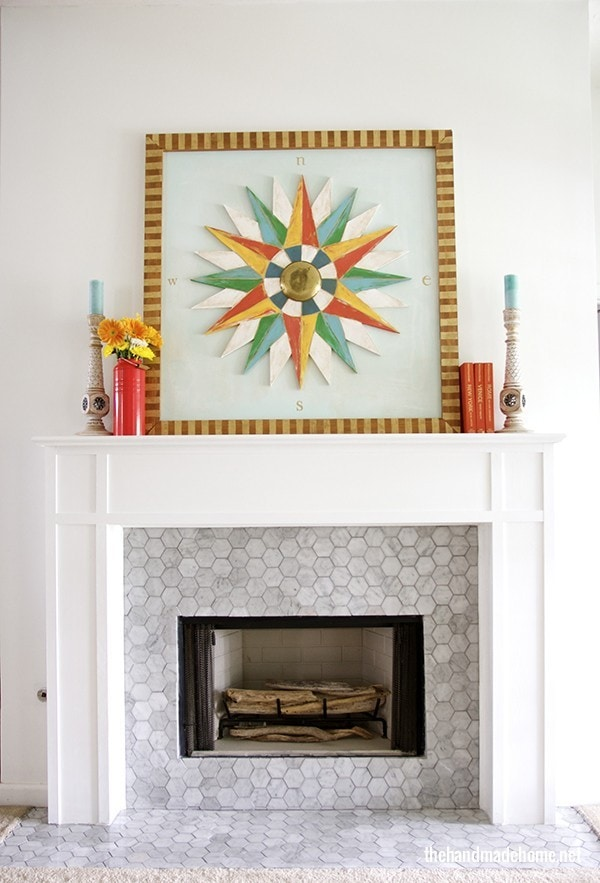fireplace makeover with DIY mantel