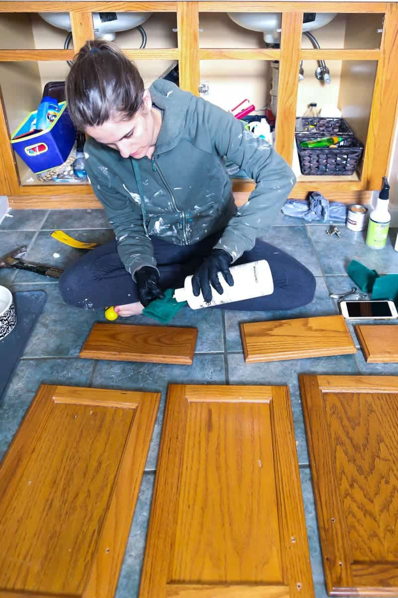 De-glossing step of Rust-Oleum Cabinet Transformations