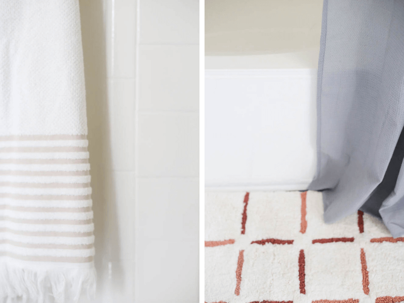 close-up collage images of DIY refinished bathtub