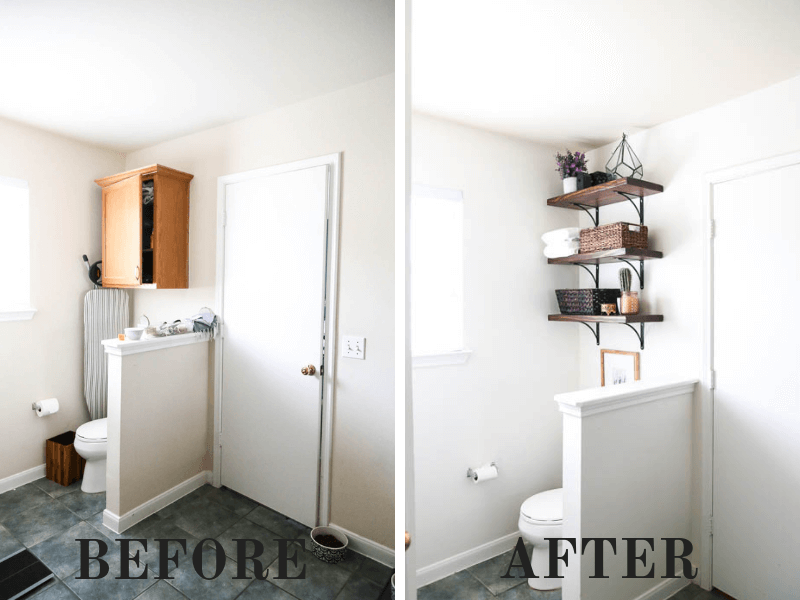 before and after of installing DIY bathroom shelves