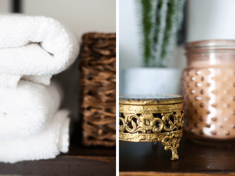 Close up of fluffy white bath towels and jewelry box