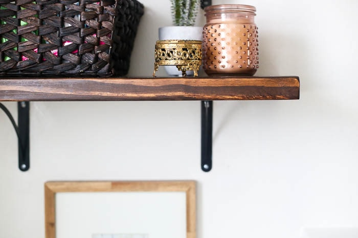 Close-up of DIY bathroom shelves