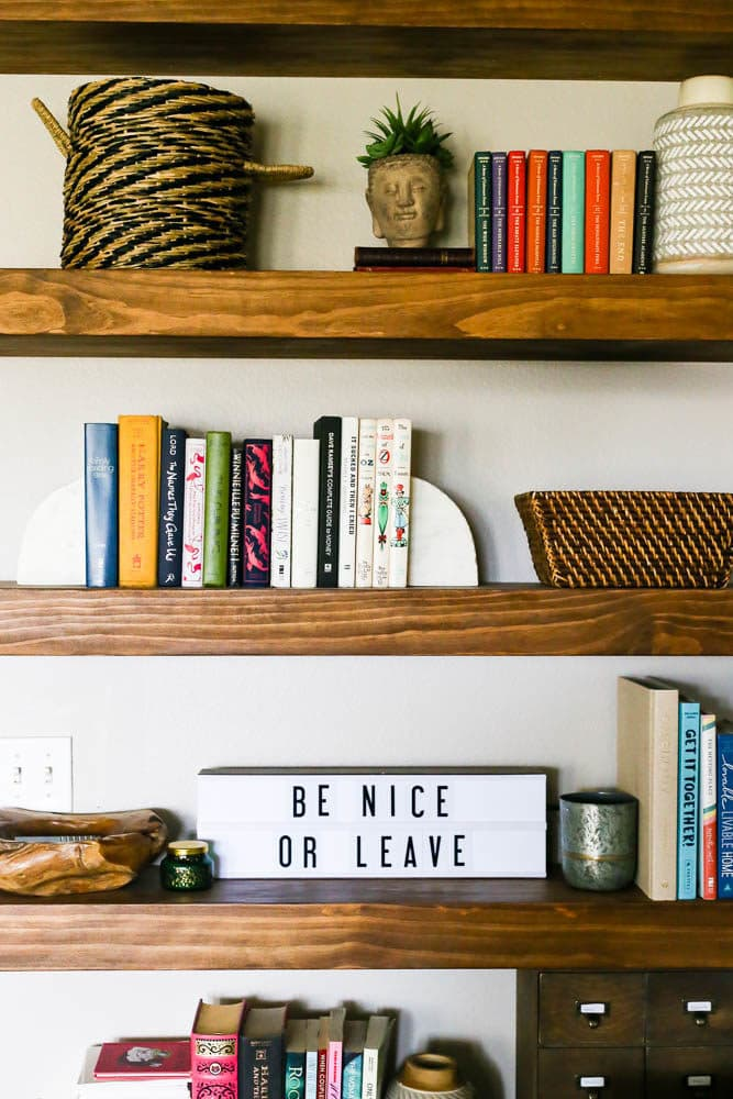 shelving with books