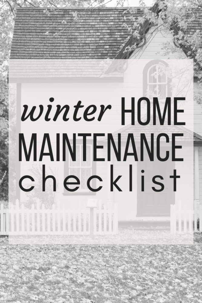 "House with text overlay - ""winter home maintenance checklist"""