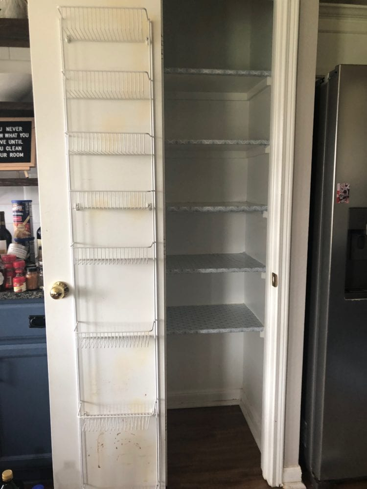 pantry emptied out for cleaning