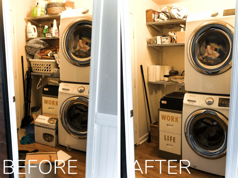 Laundry room before and after organizing