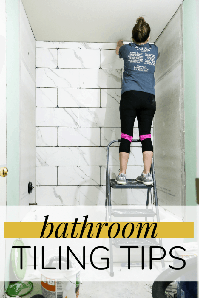 "woman tiling shower with text overlay - ""bathroom tiling tips"""