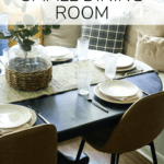 Dining room table with text overlay - how to entertain in a small dining room