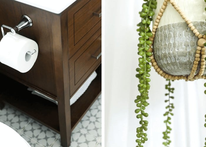 collage of vanity and hanging planter