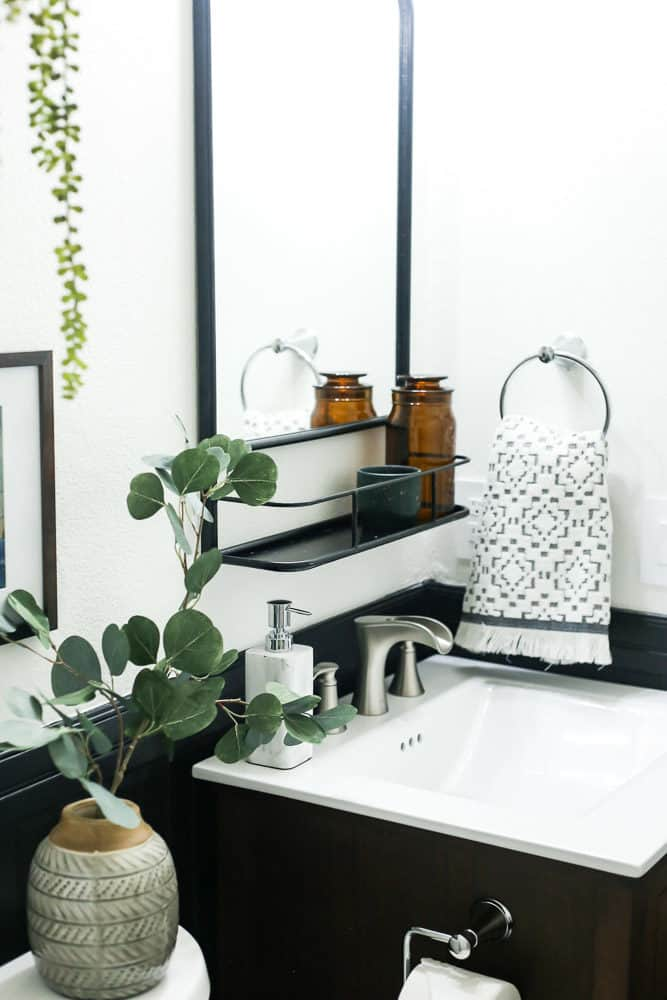 details of black and white bathroom renovation