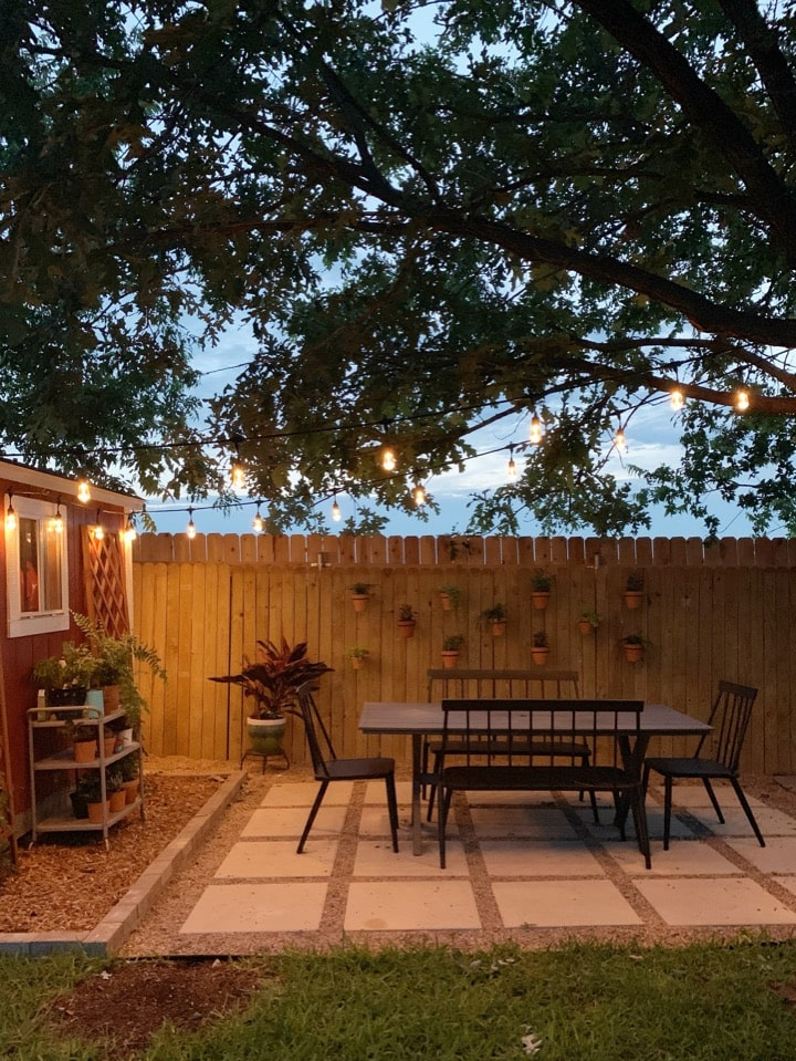 patio at night with cafe lighting