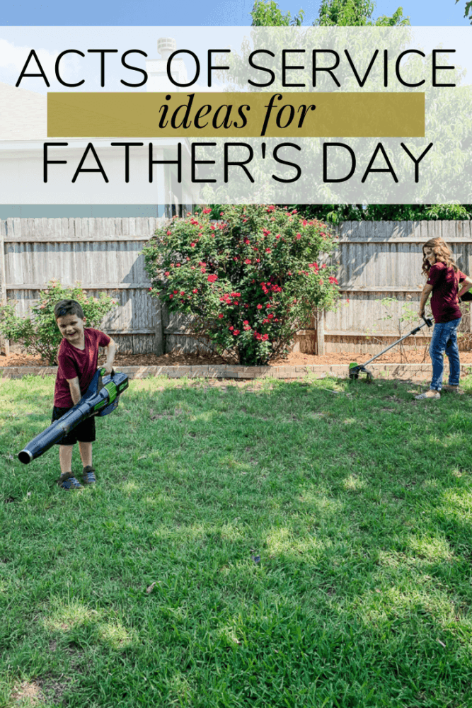 """Woman and young boy working on yardwork. Text overlay says """"acts of service ideas for Father's Day"""""""