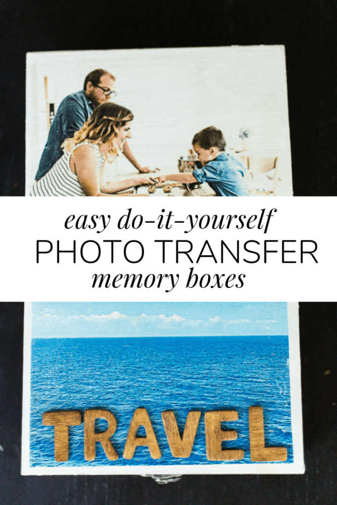 "collage of two memory boxes with text overlay - ""easy do it yourself photo transfer memory boxes"""