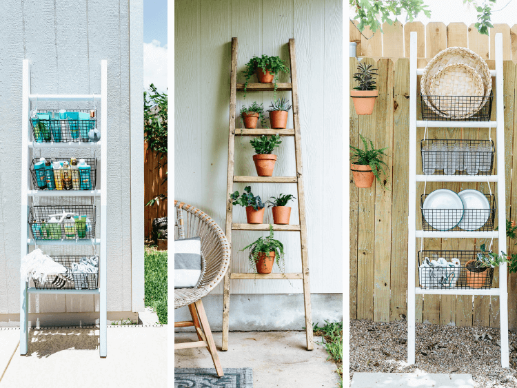 collage of three blanket ladders used outdoors