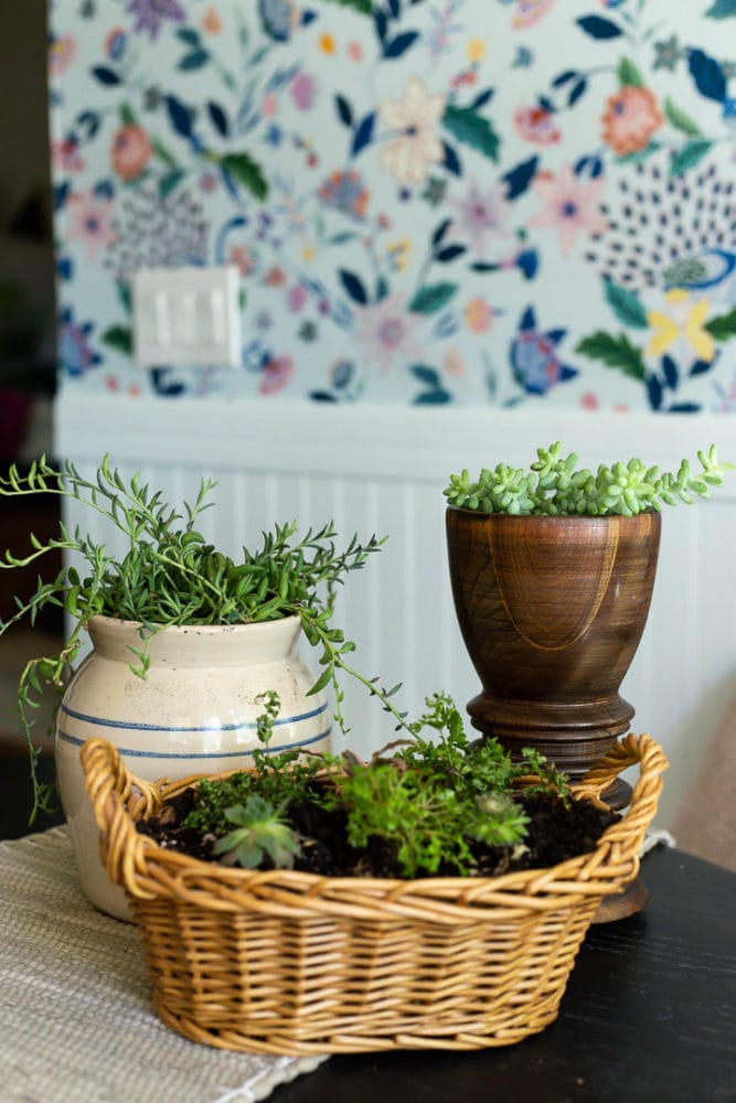 three thrift store vases and baskets that have been turned into planters