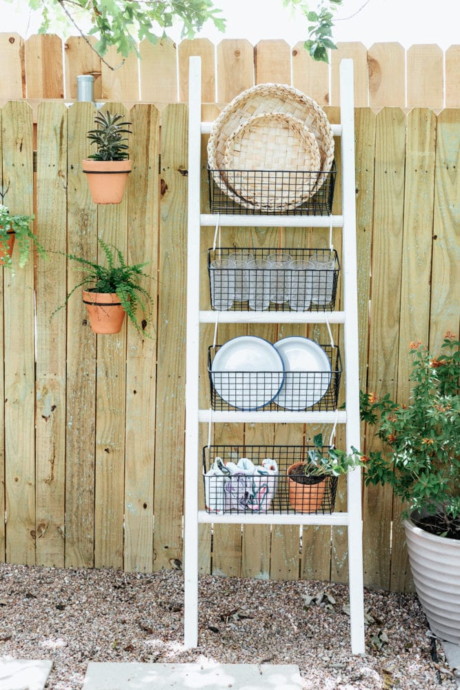 leaning ladder used as storage