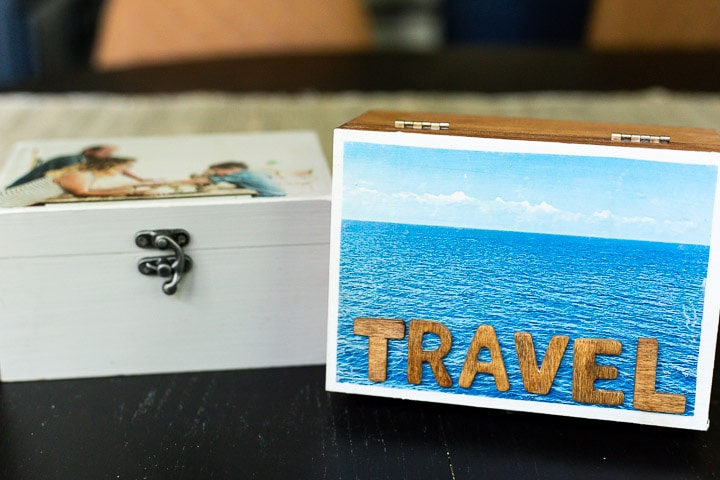 two memory boxes with images transferred onto them using photo transfer medium