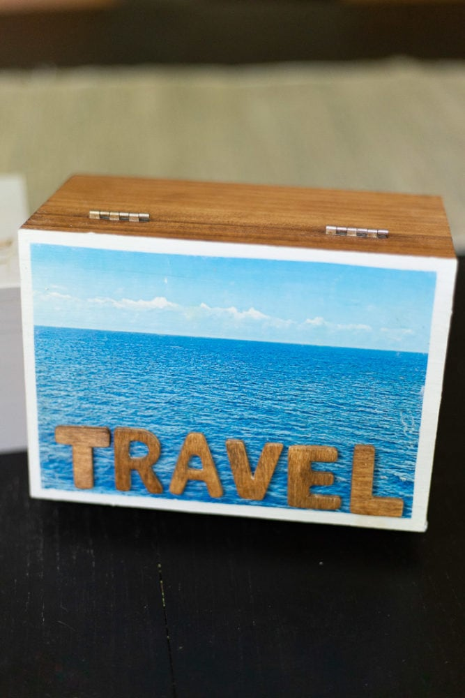close up of DIY travel memory box