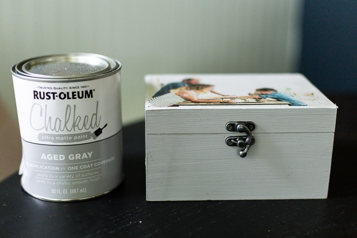 DIY recipe box sitting next to a can of Rust-Oleum chalked paint in aged gray