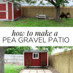 before and after of DIY pea gravel patio