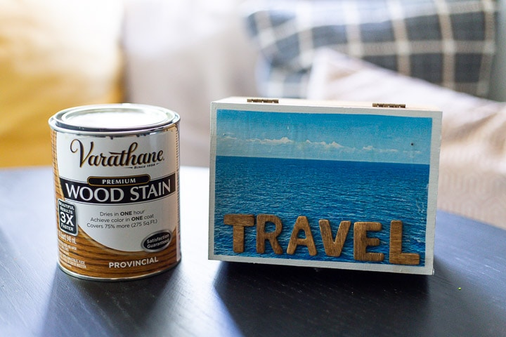 DIY travel memory box next to a can of Varathane's wood stain in Provincial