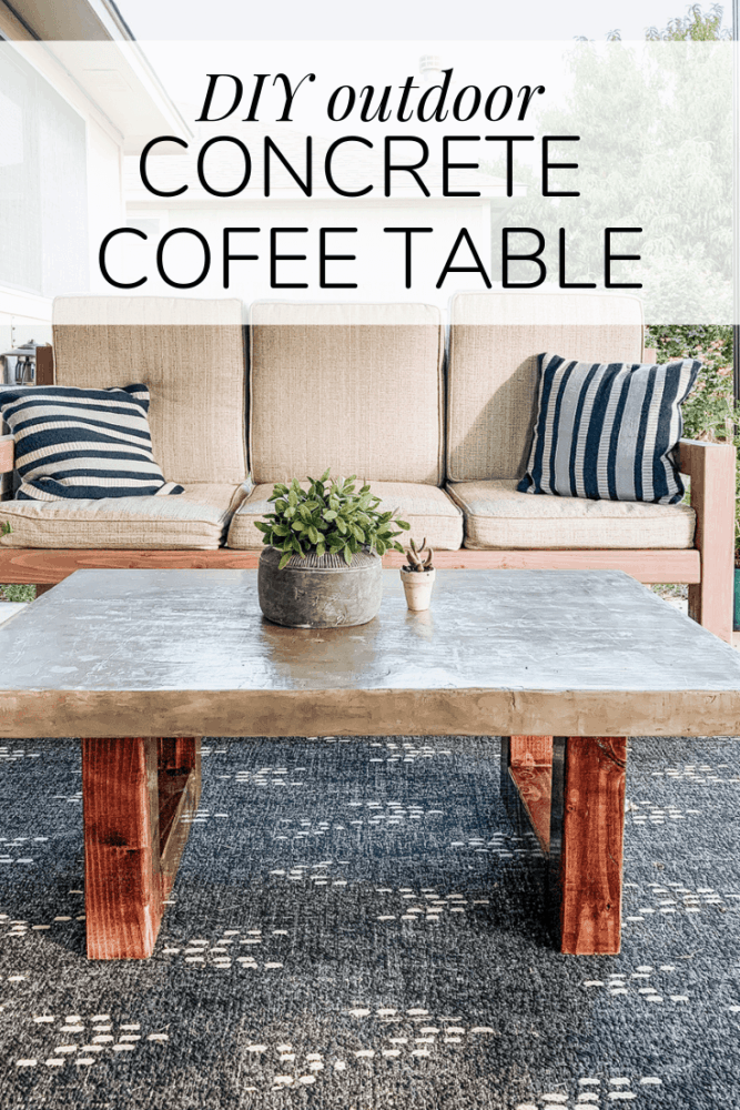 """concrete coffee table with text overlay - """"diy outdoor concrete coffee table"""""""