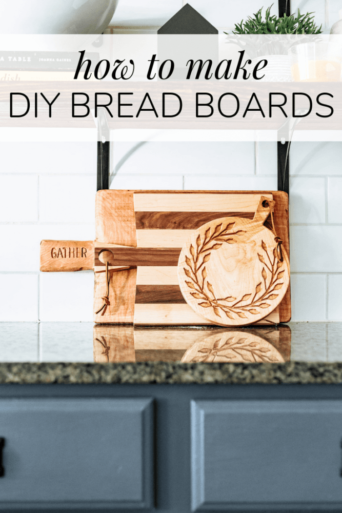 """three wooden bread and cheese boards with text overlay - """"how to make diy bread boards"""""""