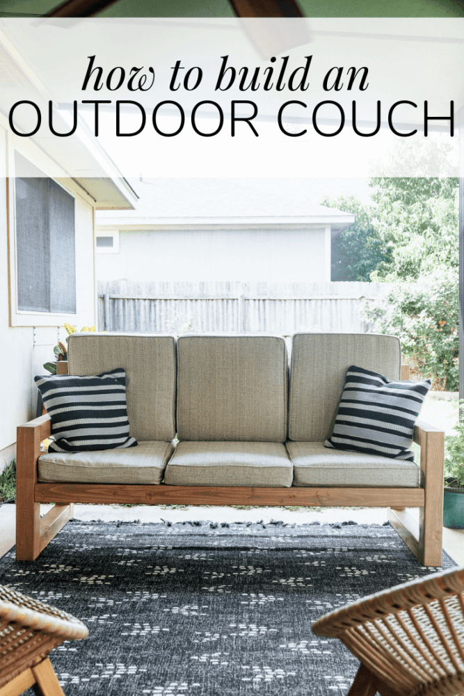 "outdoor sofa on a back porch with text overlay - ""how to build an outdoor couch"""