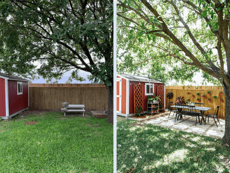 before and after of backyard makeover