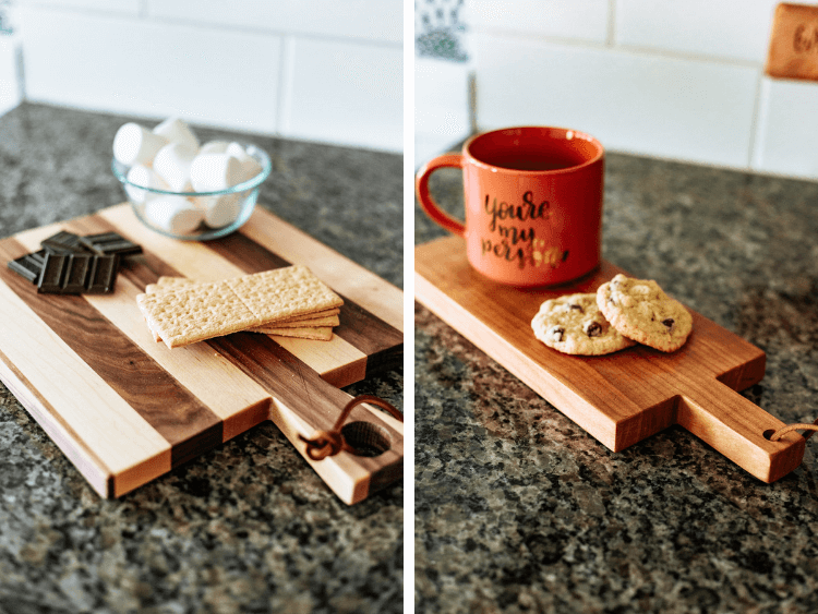 two small DIY bread boards styled with treats and snacks