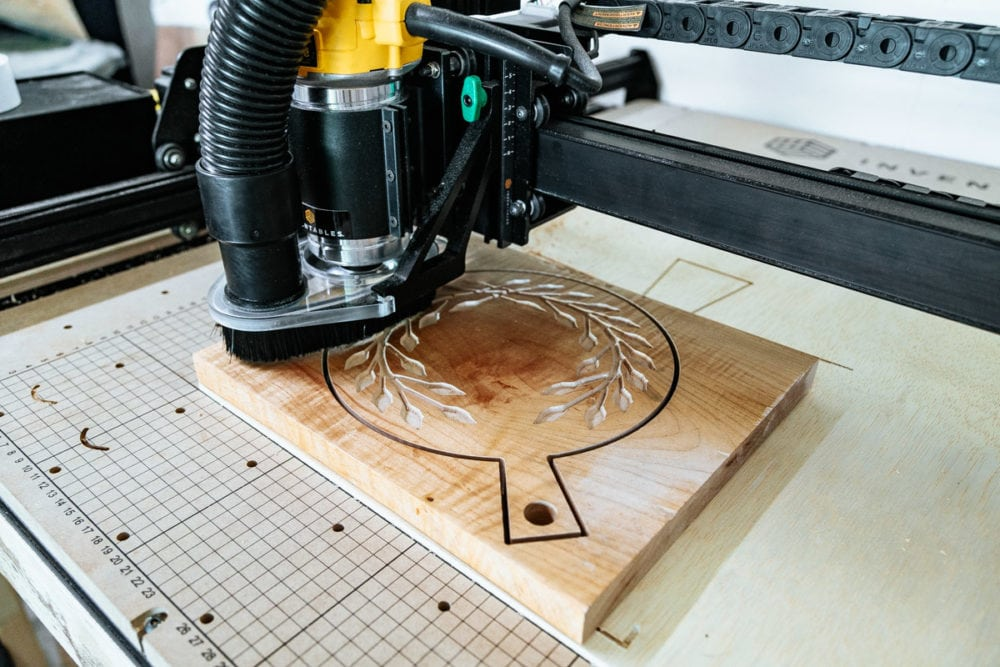 close up of X-Carve cutting out design