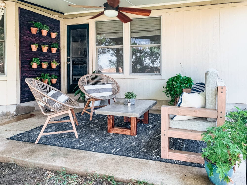 back porch with DIY outdoor plant wall