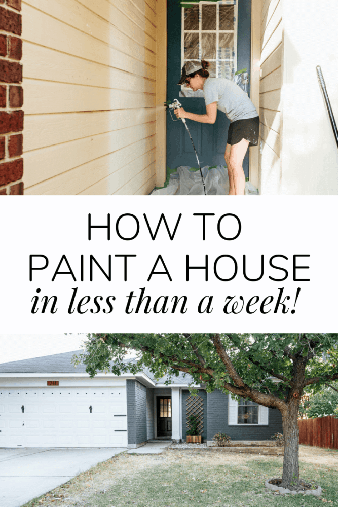 """collage of two images - a woman painting siding and a freshly painted blue brick house. Text overlay states """"how to paint a house in less than a week"""""""