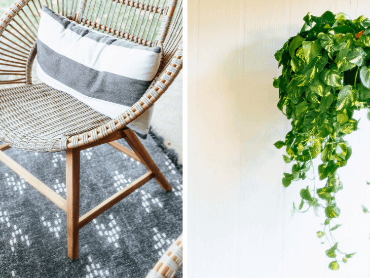 collage of two images - one lounge chair and a hanging pothos plant