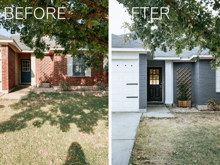 before and after collage of painted house