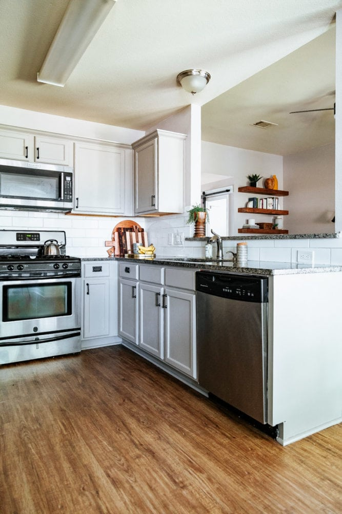 kitchen with greige cabinets painted with Rustoleum Cabinet Transformations kit