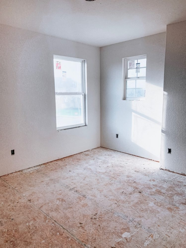 bedroom in a new construction home