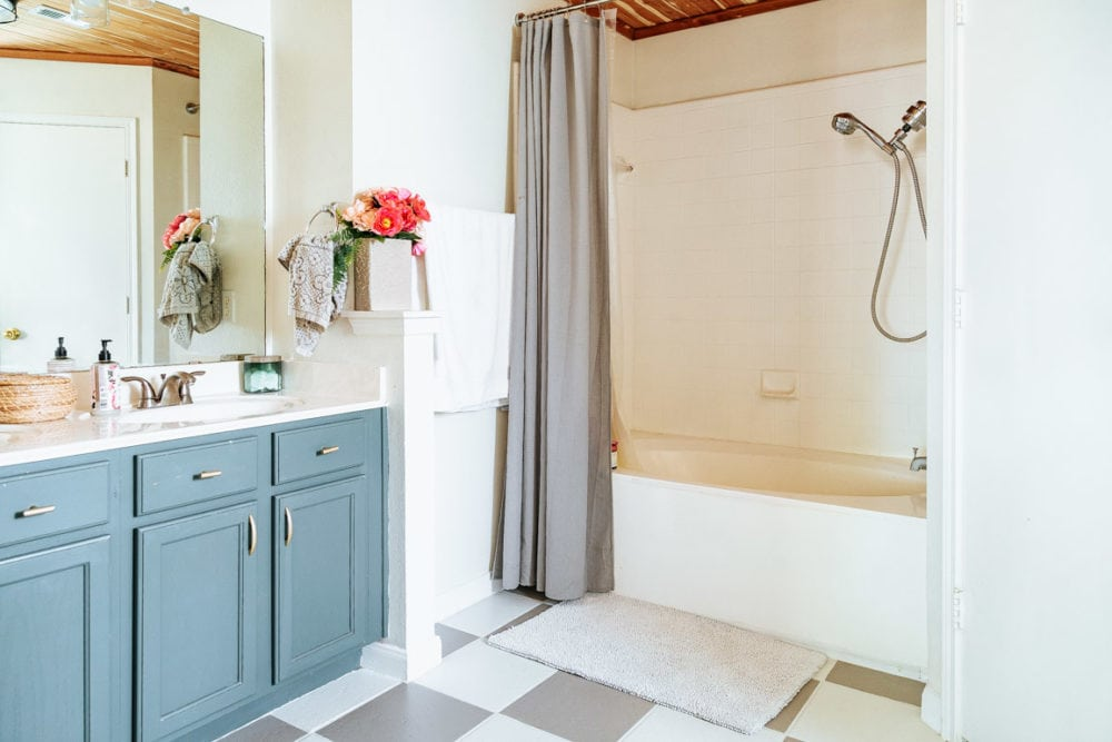 a bathroom after a makeover with paint