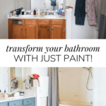 collage of master bathroom makeover