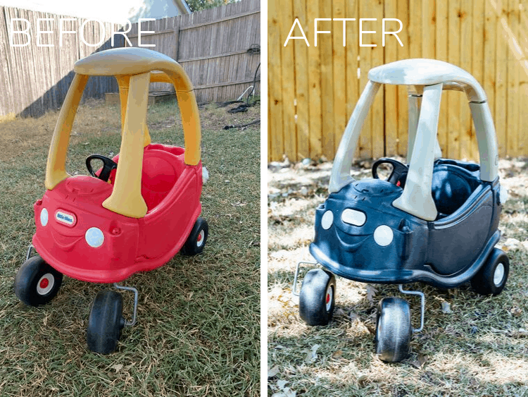 before and after of cozy coupe makeover