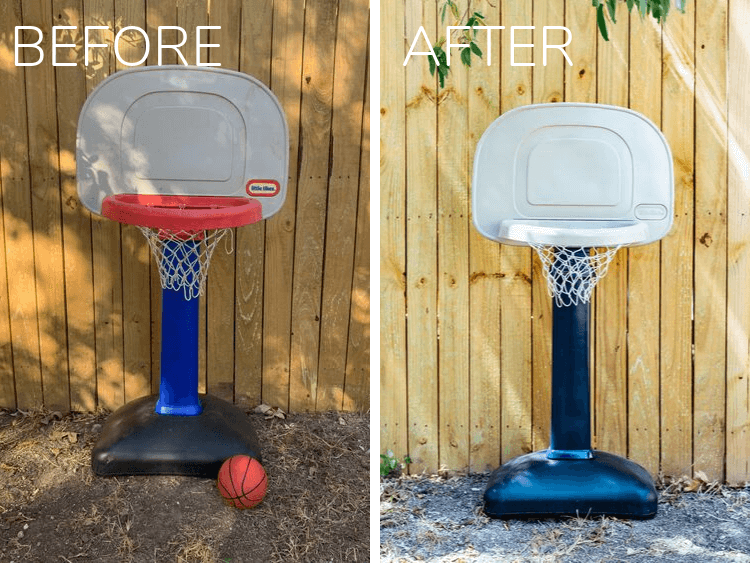 before and after of little tikes basketball hoop